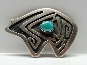 Rare Native American Indian Sterling Silver Turquoise BEAR Brooch Signed Makuma?