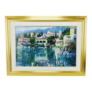 Vtg Framed Howard Behrens Brushstrokes Collection Lithograph Painting on Canvas
