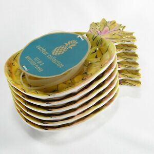 Outdoor Collection Tropical Pineapple Set Of 6 Melamine Appetizer Snack Plates