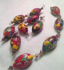 Antique, 1920-1940, XLarge Venetian Murano Millefiori Glass Beads - BEAUTIFUL