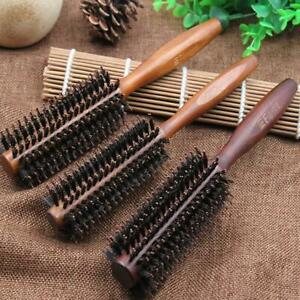 Round Wooden Handle Hairdressing Boar Bristle Curling Styling Hair Comb Brush