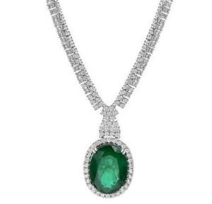 EXTRA LARGE 29.8CT DIAMOND & AAA EMERALD 18KT WHITE GOLD 3D ETERNITY NECKLACE