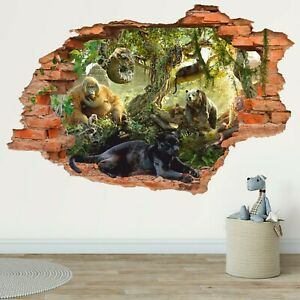 Jungle 3D Wall Decal Wild Nature Wall Sticker Jungle Book Panther Removable