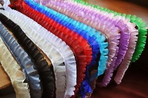 1 inch wide organza ruffled lace trim  = selling by the yard /select color/