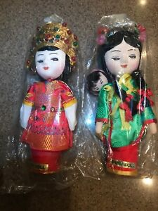 Vintage Asian dolls 2 Chinese dolls Still In Plastic Wood Peg Body $20.00
