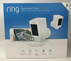 New Sealed - Ring Spotlight Cam Battery outdoor security camera 2-Pack ( White )