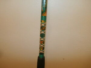 CUSTOM CONVENTIONAL ROD 7' TROPICAL ORANGE GREEN & YELLOW MARBLE  20-40 LB NEW