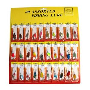 Lot 30pcs Trout Spoon Metal Fishing Lures Spinner Baits Bass Tackle Fish Device