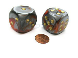 Gemini 30mm Large D6 Chessex Dice, 2 Pieces - Orange-Steel with Gold Pips