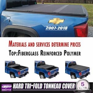 FITs 07-18 Chevy Silverado/GMC 5.8Ft Solid Bed Hard Tri-Fold Cover Fold Tonneau