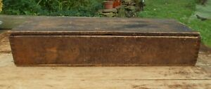Antique Farm House General Store Old Wood Seed Box with lid