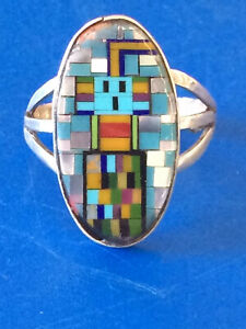 Native Mens Ring Sterling Silver Turquoise Pixel Man Indian Warrior FREE SHIP