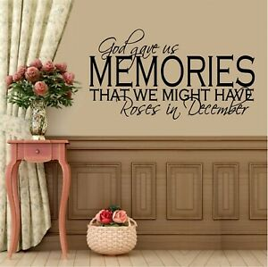 God Gave us Memories Vinyl Wall Decal Sticker Home Decor Family