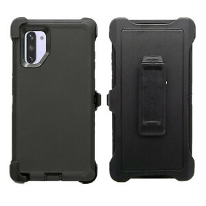 Black For Samsung Galaxy Note 10+Plus Defender Case w Belt Clip fits Otterbox
