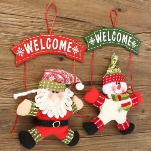 Christmas Door Welcome guests Tree Ornaments Decor Hanging Pendant Xmas Gift