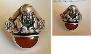 CARL SCHON sterling silver ring in the form of an ORIENTAL BUDDAH
