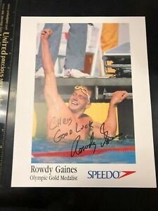 US Olympic SWIM GOLD Medalist Rowdy Gaines AUTOGRAPHED photo