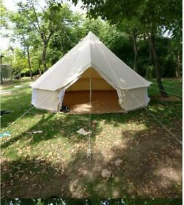New19.69ft Canvas Bell Tent with Front Awning Outdoor Camping 6M Sporting Goods