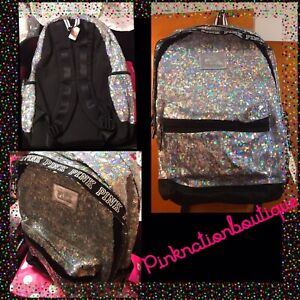 NWT Victorias Secret Pink Backpack Bling Campus Sequins Full Size RARE $89.95