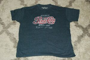 Men's Savvy size XXL t-shirt blue Pepsi-Cola Tokyo Japan Kanji distressed