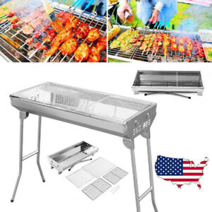 BBQ Barbecue Charcoal Grill Stainless Steel Foldable Backyard Cooker Portable US