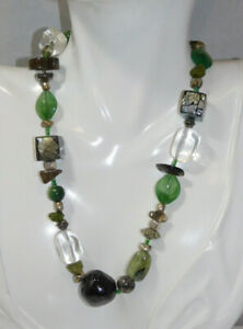 Green Brown Clear Quartz Agate Stone MOP Bead strand Necklace 8i 10 $35.99