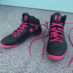 Under Armour Women's Jet High Top Basketball Shoe Size 9 Black Pink Leather