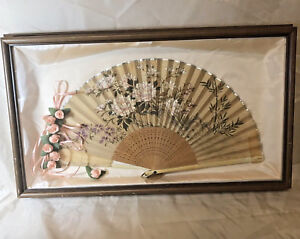 Antique Hand Painted Fan Floral Shadow Box Mounted Old Beautiful Austin Texas