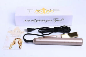 100% new TYME Iron 2 in 1 Hair Straightening Curling Gold Plated Titanium