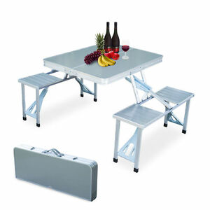 Picnic Table Folding Aluminum Portable 4 Seats Collapsible Camping  NEW