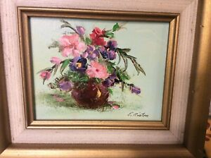 Small Antique Signed American Floral Oil Painting Eve Riston Listed $99.99