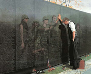 Reflections by Lee Teter Military Vietnam Memorial Wall Print