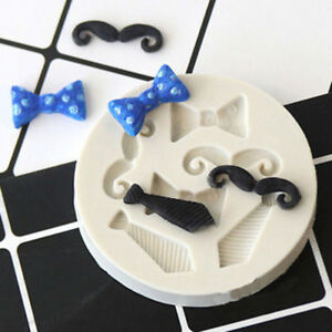 Silicone Beards Mustache Bow Tie Fondant Mould Cake Sugarcraft Chocolate Mol RAS