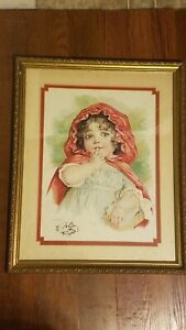 Antique Maud Humphrey Bogart Stone Lithograph Little Red Riding Hood~FramedSign