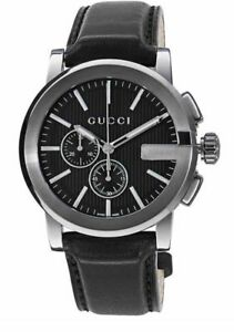 New Gucci G-Chrono Chronograph Black PVD Bezel Leather YA101205 44m Mens Watch
