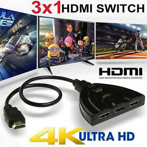 3 Port HDMI Splitter Cable 10804K Switch Switcher HUB Adapter for HDTV PS4 Xbox