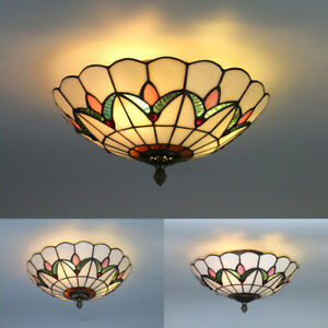 Tiffany Style Flush Mount Ceiling Light Stained Glass Lamp Shade Bedroom Fixture