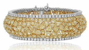 LARGE 44.21CT WHITE & FANCY YELLOW DIAMOND 18KT TWO TONE GOLD 3D TENNIS BRACELET