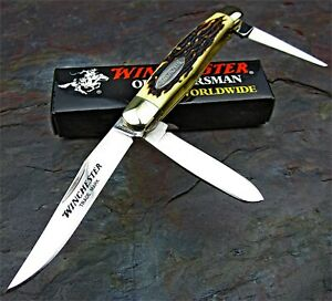 Winchester 3 Blade Stockman BuckStag Handles Traditional Folding Pocket Knife