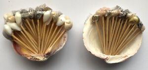 Sea Shells Toothpicks w/ Clam Shell Holder Luau Party Home Kitchen Decor Hawaii