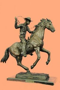 100% Solid Extra Large Cowboy Marshal on Horse Bronze Masterpiece Sculpture Figu $419.30