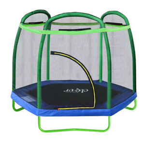 Clevr 7ft Net Trampoline with Safety Enclosure Bounce Jump Spring Pad Round