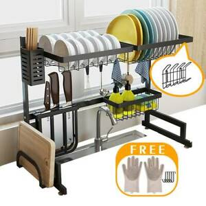 Over Sink Dish Drying Rack Drainer Shelf Stainless Steel Kitchen Cutlery Holder $57.48