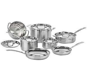 Multi Clad, 12-Piece, Stainless, Cookware Set, Kit, Pot, Outdoor Cooking, Picnic