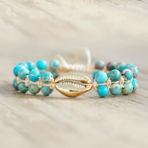 Ethnic Style Women Jewelry Turquoise Beaded Weave Rope Shell Splice Bracelet