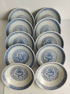 6PCS Vintage Chinese Porcelain Dish Sauce Plate Blue Dragon Rice Grain Pattern $22.99