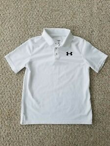 Boys Under Armour Heat Gear Polo Shirt White Size Large