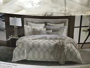 Hudson Park Seed Stitch Trellis King Duvet Cover Ivory New Open Damaged Package