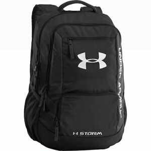 Under Armour HUSTLE II STORM BACKPACK 1263964 NWT BLACK & SILVER 18 X13 X 8