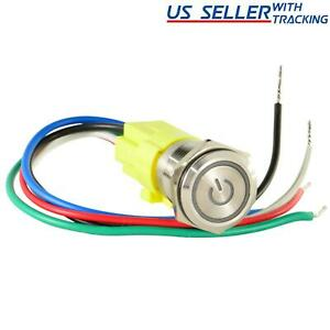 16mm 12V LED ON OFF Push Button Power Switch Latching with Wire Socket Harness $6.95